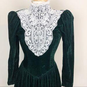 463e03f56f6 Gunne Sax Dresses - Vintage GunneSax Green Velvet Lace High Neck Gown